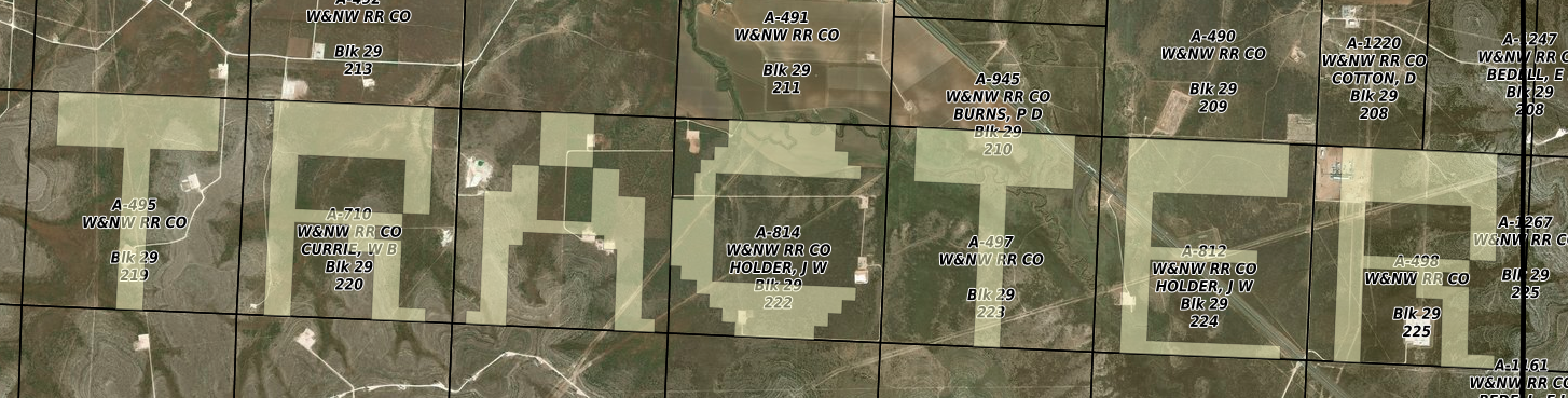 Tracter spelled out with tracts across several sections of Glasscock County, Texas.